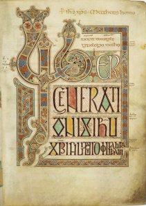 Lindisfarne Gospels, opening of Matthew