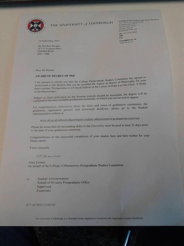 PhD Letter