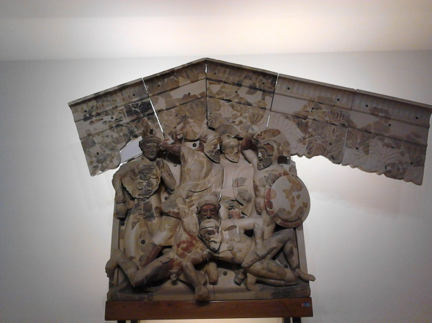 Tydeus eats Melanippus' brain in the campaing of the Seven Against Thebes on the pediment of an Etruscan temple, now in the Villa Giulia, Rome