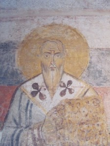 7th-c fresco from when Curia became a church, now in the museum at Cripta Balbi, Rome
