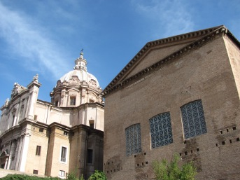The Curia (or Senate house) on the right. Roman Forum, my photo